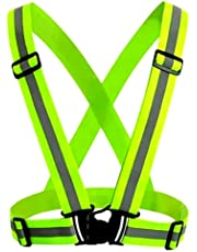 Chaleco Reflectante de Alta Visibilidad. Chaleco de Seguridad Ajustable con Fluorescente, Chaleco Reflejante para Ciclista y Motos. Deportes al Aire Libre, Correr de Noche, Caminar y Montar en Bicicleta.