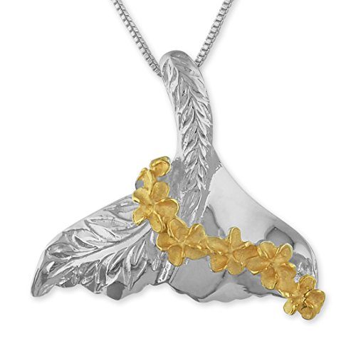 (Sterling Silver with 14kt Yellow Gold Plated Accents Whale Tail Lei Pendant Necklace, 16+2