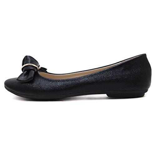 D2c Beauty Womens Punta Rotonda Pu Comfort Slip-on Flats Mocassino Driving Shoes Nero