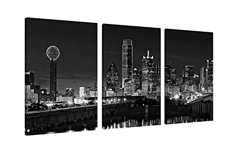 NAN Wind 3 Pcs Wall Art Beautiful Dallas Skyline Black & White Canvas Art Paintings For Room Decor Dallas Cityscape Skyscrapers Night Scene Picture Prints On Canvas For Home Decor Modern Giclee Framed (Canvas Dallas Poster)