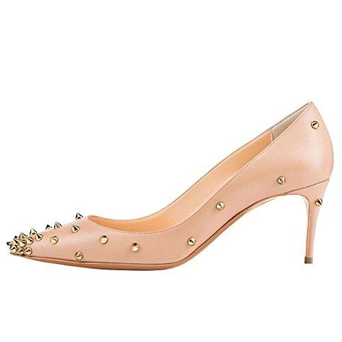 Arc-en-Ciel zapatos de las mujeres del tacón alto de la bomba de pico de oro Beige