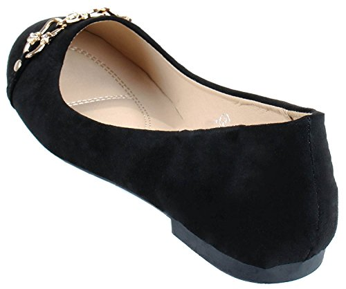 Black Dress Ballet Flat Bella Chain Slip on Round Closed Toe Marie Women's RR8wqP7C