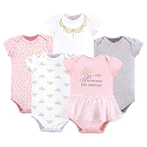 (Little Treasure Unisex Baby Cotton Bodysuits, Princess 5-Pack Short-Sleeve, 12-18 Months (18M))