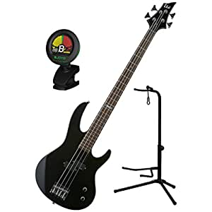 esp ltd b 10 blk 4 string electric bass guitar kit w gig bag stand and tuner. Black Bedroom Furniture Sets. Home Design Ideas