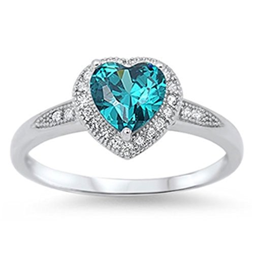 Simulated Blue Topaz Heart Sterling Silver Promise Ring - December Birthstone Promise Rings