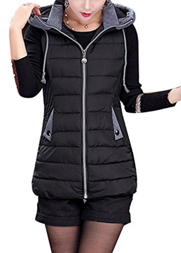 up Quilted Jacket Sleeveless Puffer Black Girls Padded Bodywarmer Vest Hoodie Yasong Zip Gilet Women 0Utw4t