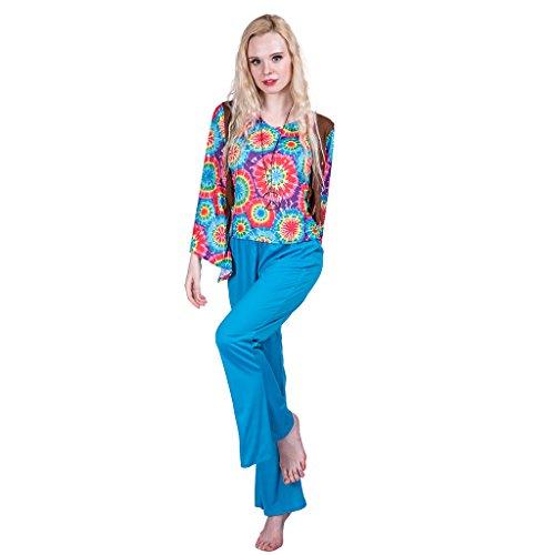 EraSpooky Women's Love Peace Hippie Adult Costume(Blue, Medium)