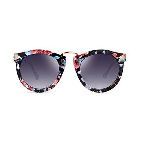 UV Sol Caja de de Color Gafas Color Cara Femenino HLMMM de Redonda la Marrón polarizada Viaje Moda Retro Sol de Tendencia Gafas Viaje Decoración de flor TwIxOU