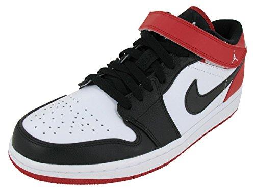 Nike Men's AIR JORDAN 1 STRAP LOW BASKETBALL SHOES 9 Men US (WHITE/BLACK/GYM RED)
