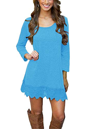 Boots Western Clothes (Afibi Women's Long Sleeve A-Line Lace Stitching Trim Casual Dress (Medium, Light Blue))