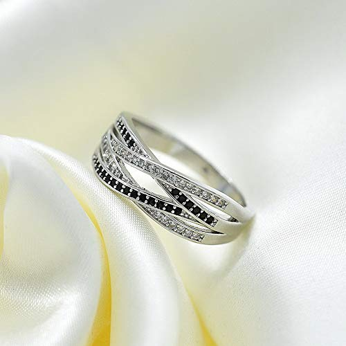 Endicot Infinity 925 Silver Jewelry Black White Sapphire Women Wedding Ring Size 6-10 | Model RNG - 6017 | 8 ()