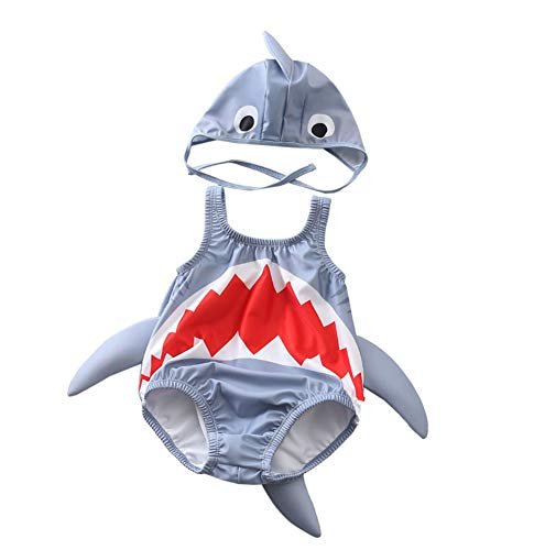Kid Baby Boys Girls One Piece Shark Swimsuit with Caps (Gray, 1-2 Years/Tag: XL)