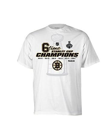 Reebok NHL Boston Bruins 6-Time Conmemorativa de la Copa Stanley tee Camisa para Hombre, Hombre, Blanco: Amazon.es: Ropa y accesorios