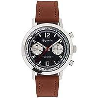 Gigandet Men's Quartz Watch Tramelan Chronograph Vintage Design Analog Leather Strap Brown Black G10-006