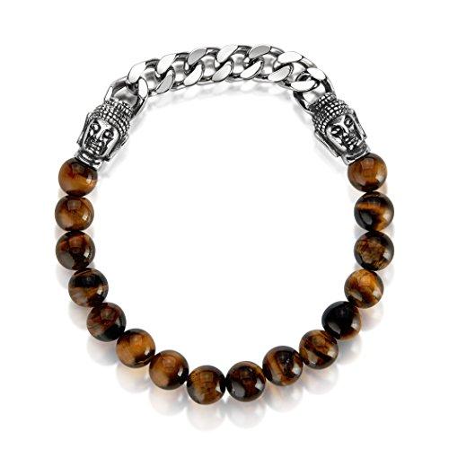 Crucible High Polished Stainless Steel Curb Chain Buddha Bead Tiger's Eye Stretch Bracelet - (8mm (Jasper Ruby Bracelet)
