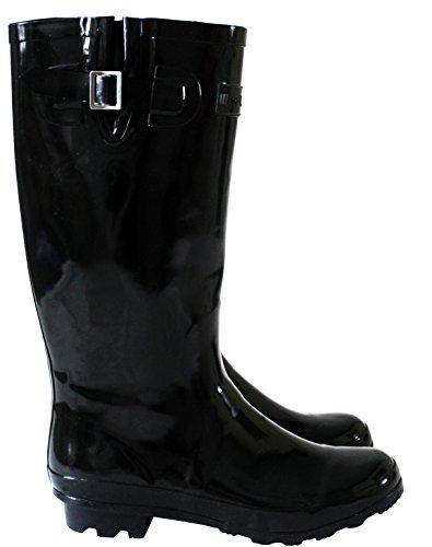 Ladies Womens Wide Calf Adjustable Snow Rain Mud Festival Waterproof Wellington Boots Wellies UK 3-8 (Maximum Calf Width 42 cm) Black/Shiney bh93BdGW