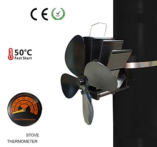 PANDA100 Heat Powered Stove Fan-2019 Upgrade Designed Silent Operation 4 Blades with Stove Thermometer for Wood/Log Burner/Fireplace-Eco Friendly and Efficient Heat Distribution (4 Blades) (Chimney Heat Reclaimer)