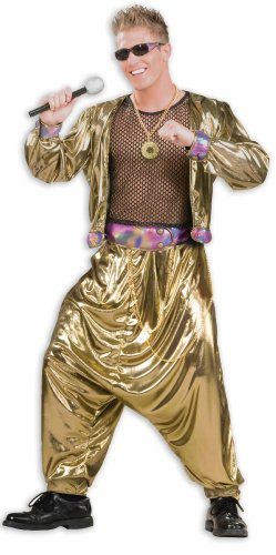 Gold Costume Men (Men's 80's Video Superstar Costume, Gold, One Size)