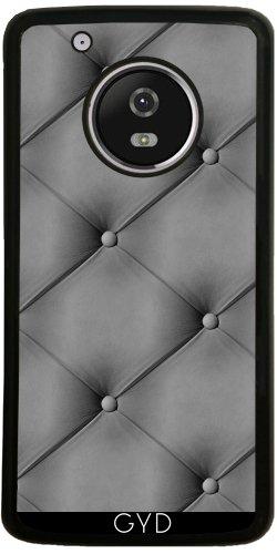 Funda de silicona para Moto G5 Plus - Gris Efecto Cuero Acolchado by wamdesign