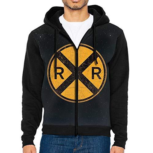 Railroad Crossing Round Metal Men's Full-Zip Hoodie Jacket Pullover Sweatshirt -