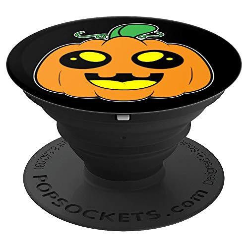 Halloween Pumpkin Face Cute Jackolantern Black Design - PopSockets Grip and Stand for Phones and Tablets
