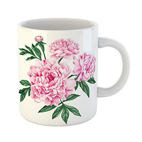 Florist Purple Rose (Emvency Funny Coffee Mug Pink Flower Garden Peony Watercolor Hand Purple Rose 11 Oz Ceramic Coffee Mug Tea Cup Best Gift Or Souvenir)