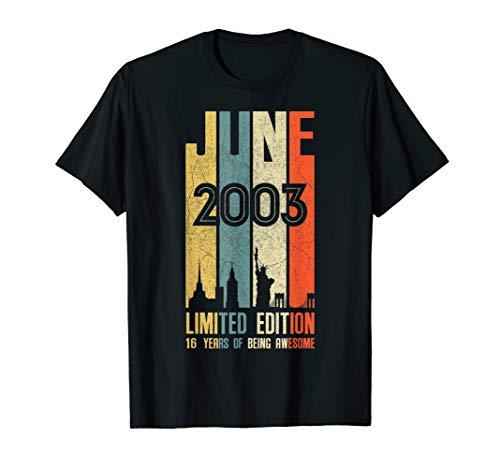(June 2003 T Shirt 16 Year Old Shirt 2003 Birthday Gift)