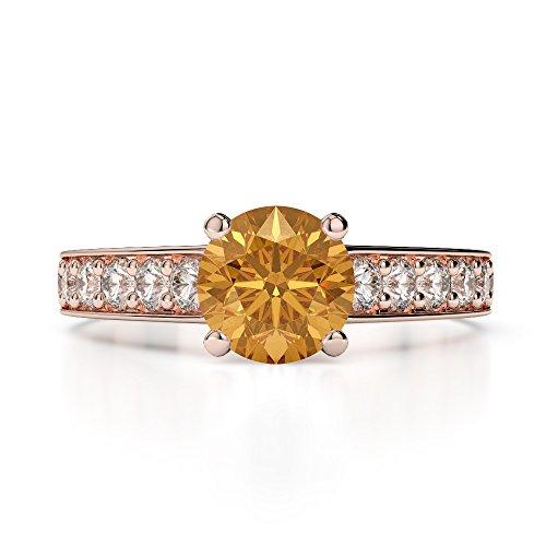 Or Rose 18carats 1CT G-H/VS sertie de diamants ronds Cut Citrine et bague de fiançailles Agdr-1202