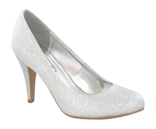 Chic Feet Ladies Silver Glitter Party Prom Bridesmaid Evening Court Shoes RpZ9lyzU5