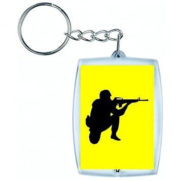 """Llavero """"SOLDADO de Crouch De Rifle de con el objetivo de Negro de"""