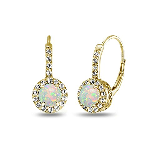 Yellow Gold Flashed Sterling Silver Genuine or Synthetic Gemstone & White Topaz Round Dainty Halo Leverback Earrings