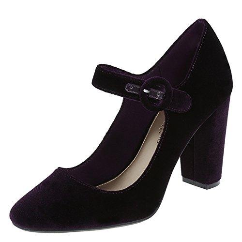Christian Siriano for Payless Women's Purple Velvet Women's Velvet Marley Mary Jane Pump 10 Regular Purple Designer Shoes