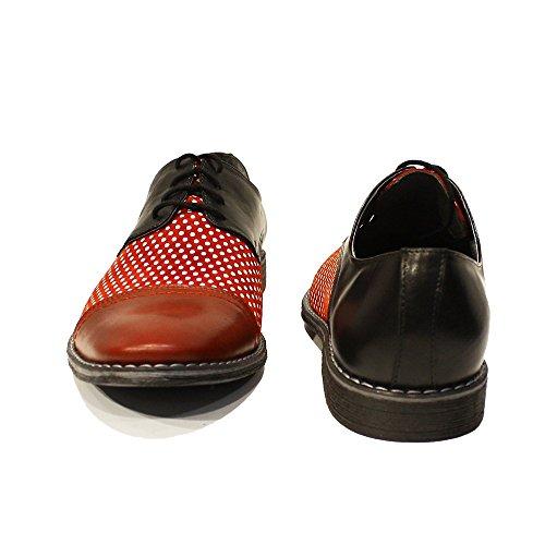 Modello Lukaso - Handmade Italiennes Rouge Chaussures - Cuir de vachette Cuir souple - Lacer
