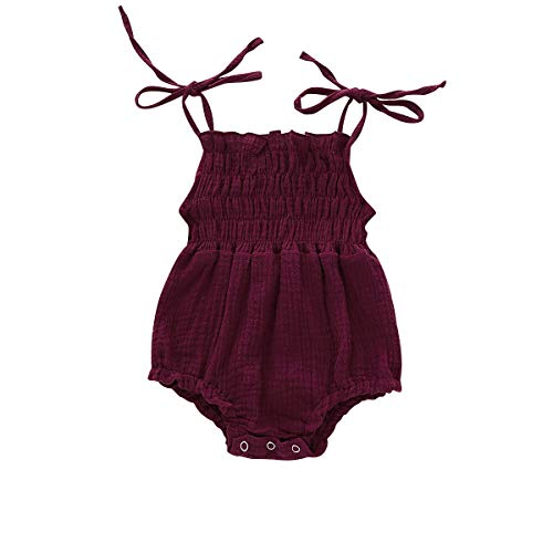 ZOELNIC Baby Girls Sleeveless Romper Toddler Girl Floral Bow Halter + Headband (Wine Red, 12-18 Months)