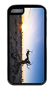 iPhone 5C Case, Personalized Protective Rubber Soft TPU Black Edge Case for iphone 5C - Sunset Tree Cover