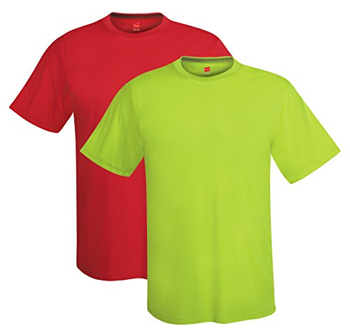Hanes mens 4 oz. Cool Dri T-Shirt(4820)-Deep Red/Safety Green-M by Hanes