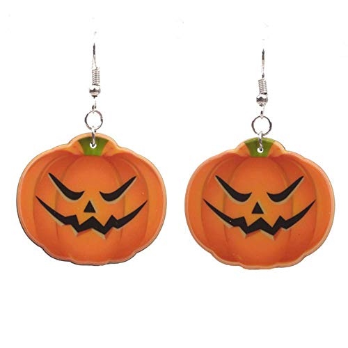 TULIP LY Silver Plated Cute Halloween Orange Pumpkin Drop Earrings Emoji Smiling Face Charm Dangle Earring Autumn Thanksgiving Jewelry -