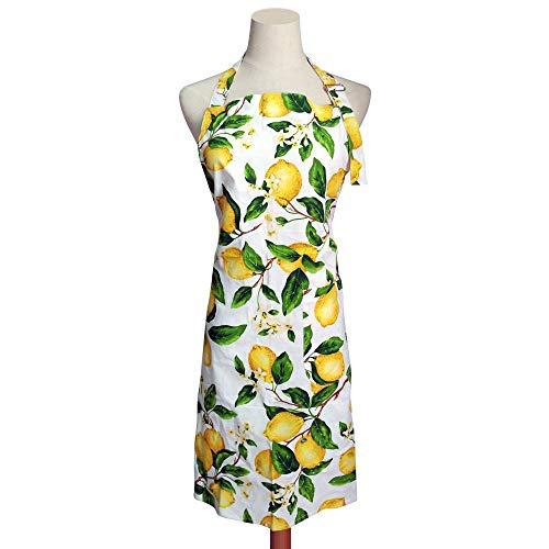 (Vacoco Fashion Lemon Apron Comfortable Cotton Kitchen Cooking BBQ with Pocket Adjustable Neck Strap for Women)