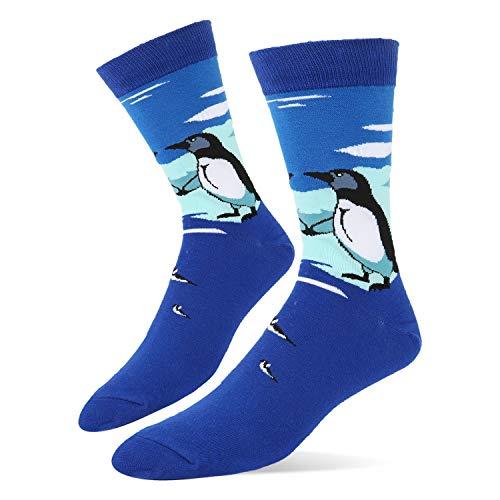 (Men's Novelty Funky Cool Penguin Crew Socks in Blue Funny Cute Animal Cozy Dress Socks )