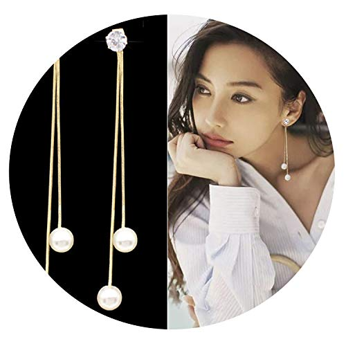 Fashion Long Tassel Simulated Pearl Drop Earrings for women girl Rhinestone exquisite Snake Chain Pendant Earring,gold ()
