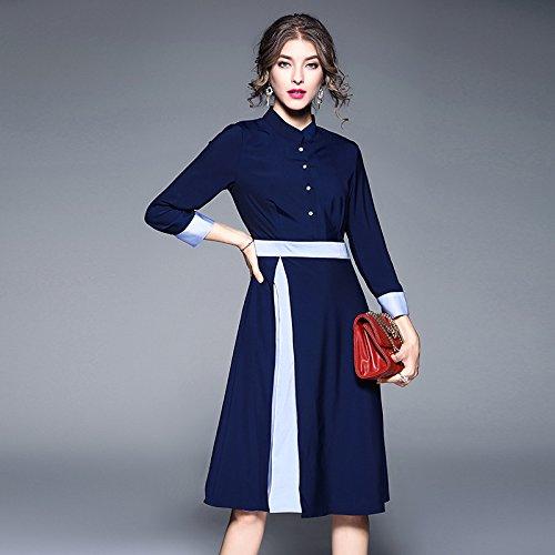 Color Cintura Collar Funda Siete De De ZHUDJ Empalme Vestimenta Slim Señoras blue De z0xt1
