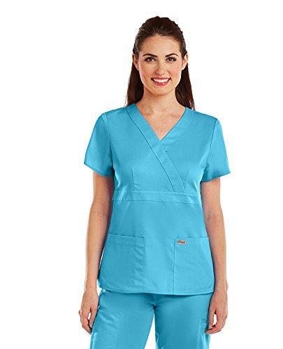 (Grey's Anatomy Signature Women's Junior Fit 3 Pocket Mock Wrap Scrub Top, Black, 3X-Large)