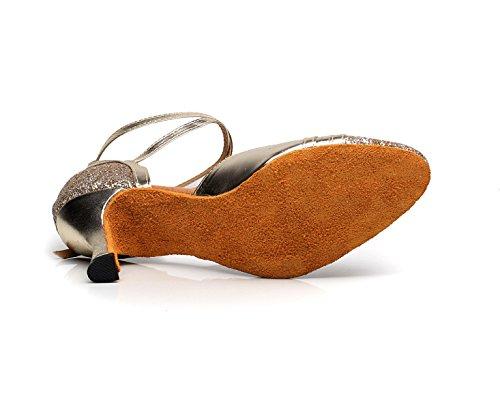 JSHOE Womens Closed Toe Talon Haut PU Cuir Paillettes Salsa Tango Ballroom Chaussures De Danse Latine,Gold-heeled7.5cm-UK6.5/EU40/Our41