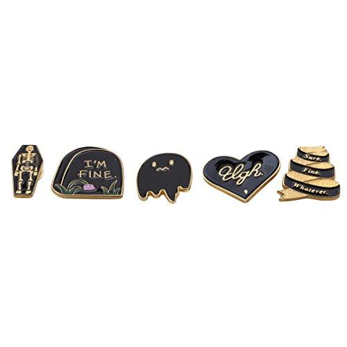 Iumer 5pcs Vintage Brooch Pins Set Skeleton I Am Fine Ghost Heart Enamel Coat Hat Decor