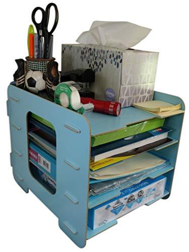C&K Solutions Four Tier Desk Organizer Paper Storage, Desktop Office Organization Sorter, Light -