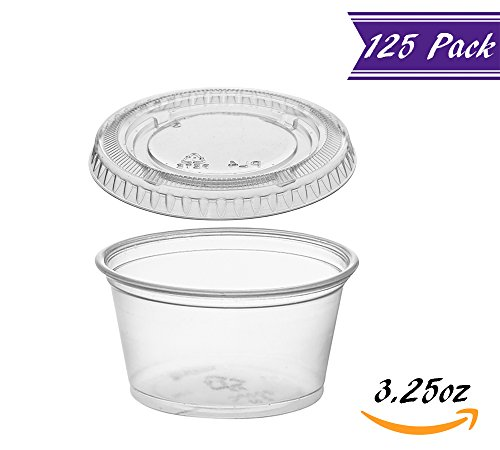 (125 Pack) 3.25-Ounce Plastic Portion Cups with Lids, Small Clear Plastic Condiment Cups/Sauce Cups, Disposable Souffle Cups/Jello Shot Cups by�Tezzorio