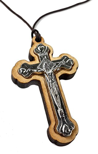 (Genuine Olive Wood Cross Silver Plated Crucifix on Thread Handmade Holy Land)