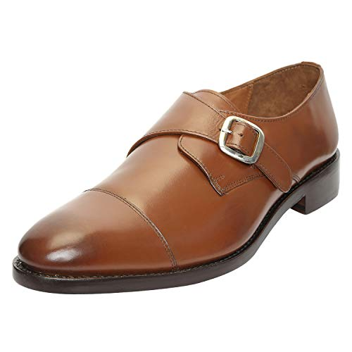 Brown Imported - DLT Men's Genuine Imported Leather with Leather Sole Goodyear Welted Single Monk Strap Modern Classic Dress Shoes 10 Brown