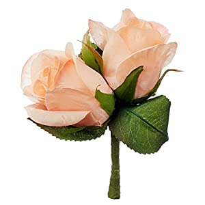 Peach Silk Rose Double Boutonniere - Groom Boutonniere Prom 51