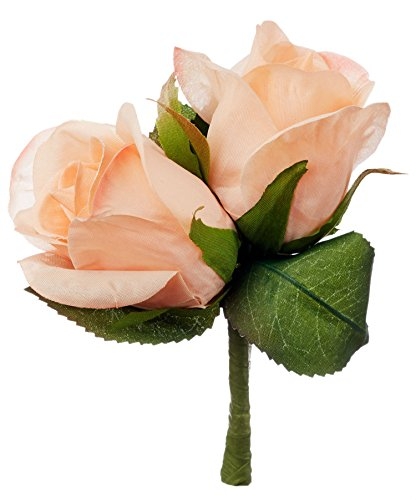 - Peach Silk Rose Double Boutonniere - Groom Boutonniere Prom
